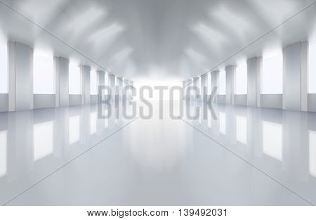 Large factory floor. Vector illustration.