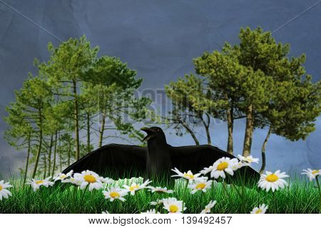 3d illustration of a black raven on green grass
