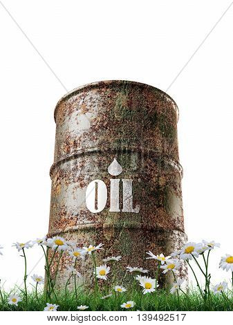 3d illustration of an old rusty oil barrel isolated on white background