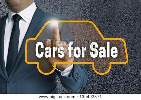 Cars For Sale Auto Touchscreen Is Operated By Businessman Concept