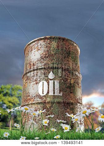 3d illustration of an old rusty oil barrel on green grass
