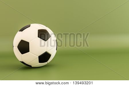 3d illustration of a soccer ball isolated on green background