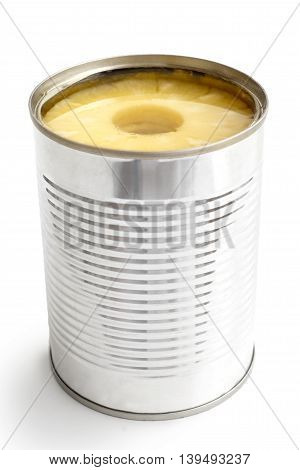 Pineapple Rings In A Tin In Perspective Isolated On White.