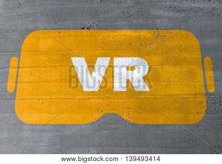 virtual reality concept on cement texture background.