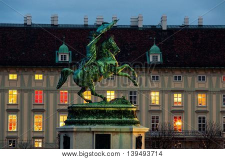 Statue of Archduke Charles - an Austrian field-marshal in Vienna, Austria at night. The square is used for many important ceremonies and actions.