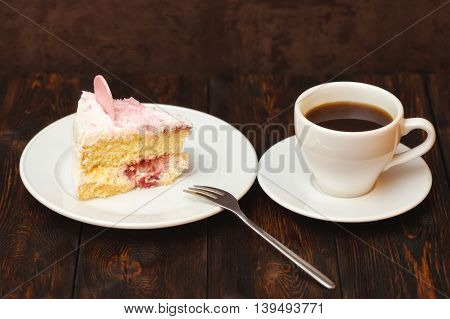 Cake Slice And Coffee Cup On Wooden Background
