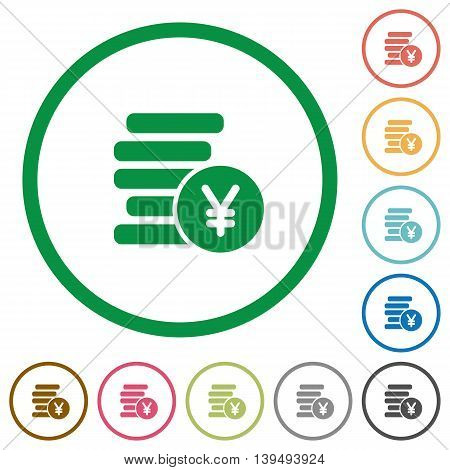 Set of Yen coins color round outlined flat icons on white background