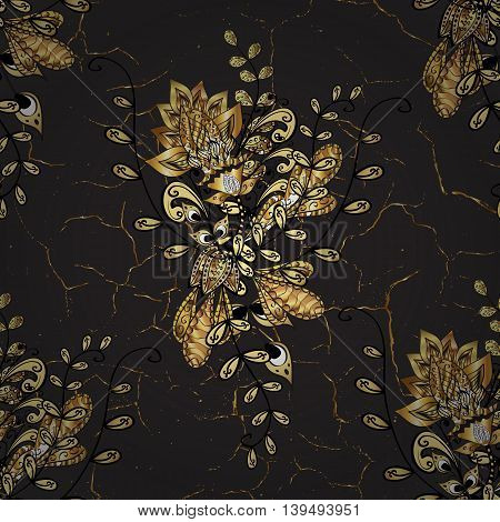 Vintage gold pattern on black background with golden elements.