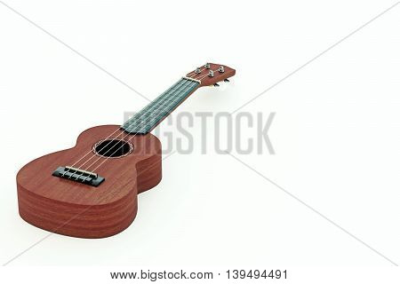 3d illustration of a ukulele isolated on white background