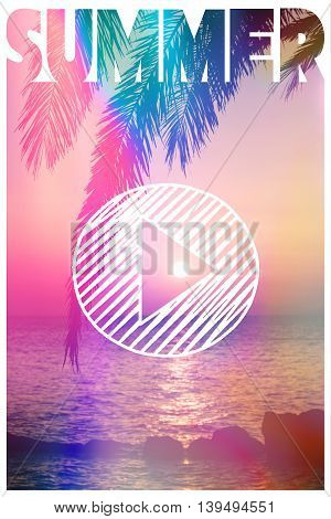Sunset and a palm tree with the word summer and a play symbol
