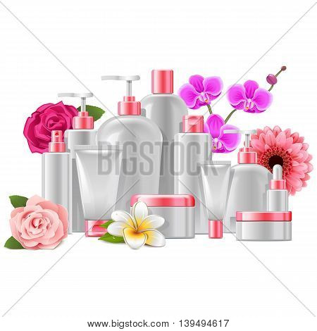 Vector Cosmetic Packaging with Flowers isolated on white background