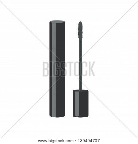 Mascara black. Lash for make up. Vector illustration.