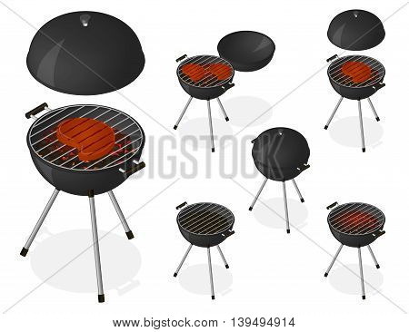 BBQ. Opened and closed barbecue grill set. Roast beef steak on charcoal. Sear meat. Cooking. Isometric vector illustration