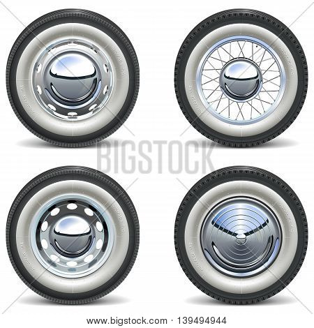 Vector Retro Car Wheels isolated on white background
