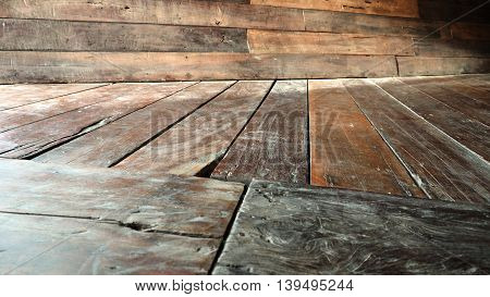 Floor and Wall and floor perspective antique Red Balau wood alternate oblique littlebit blur photo.