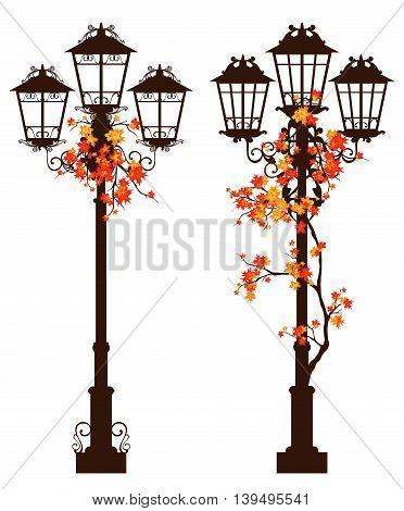 streetlight among autumn foliage - fall season vector design set