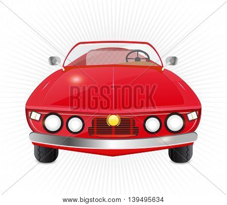 red car convertible isolated illustration on white background