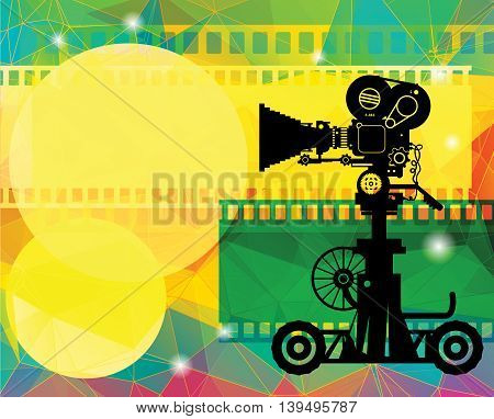 Abstract cinema background with film camera, vector illustration