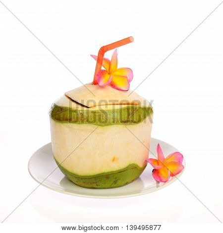 Coconut water drinks isolate on white background