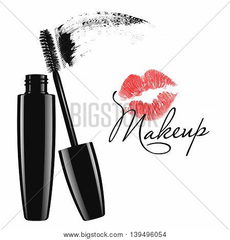 Cosmetic product design vector illustration. Makeup mascara tube, brush and stain isolated over white background
