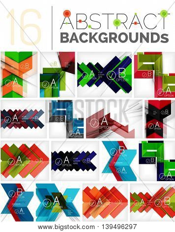 Collection of abstract backgrounds - repetition of geometric shapes, arrows, pattern with option infographics text. Colorful geometric universal template, bright unusual banner design, text