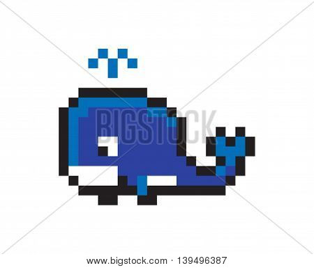 Pixel icon of Whale - Isolated Vector Illustration