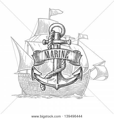 Anchor with ribbon and rope isolated on ship background. Vector vintage engraving illustration with title MARINE