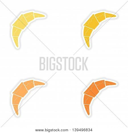 Set of paper stickers on white background  chocolate croissant