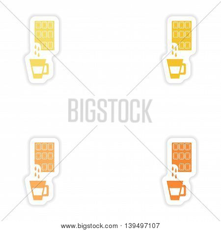 Set of paper stickers on white background  cup hot chocolate