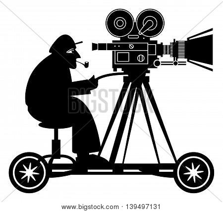 Camera man on white background, vector illustration