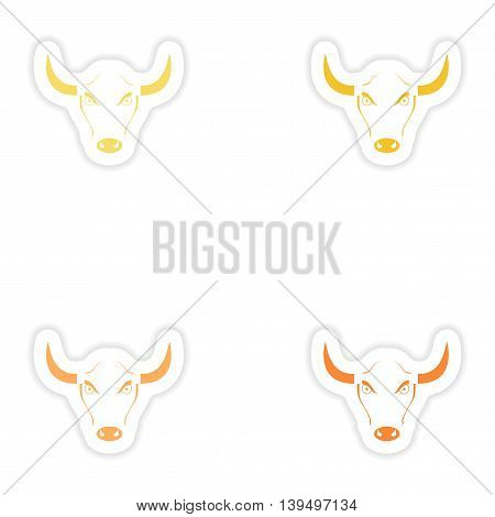 Set of paper stickers on white background  Bull logo