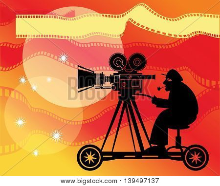Abstract color cinema or film background, vector illustration