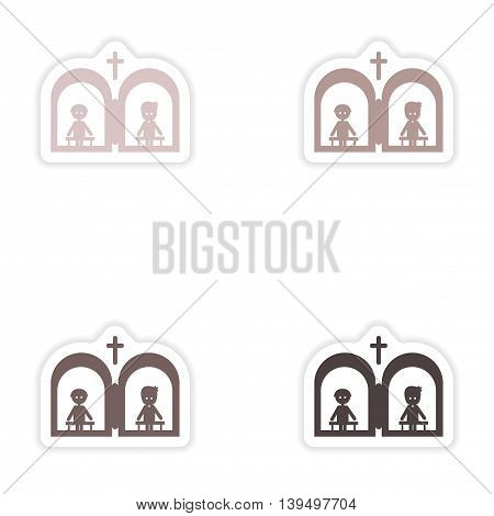 Set of paper stickers on white background  Christian confessions