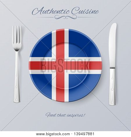 Authentic Cuisine of Iceland. Plate with Icelandic Flag and Cutlery, vector