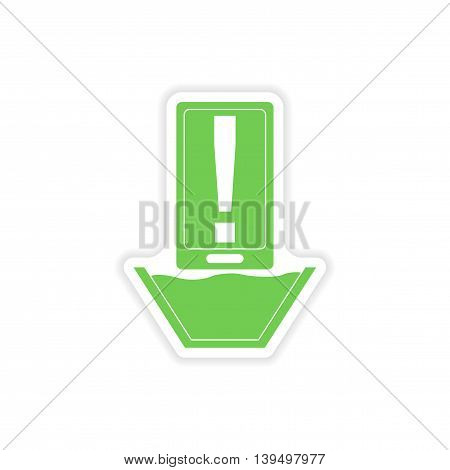 paper sticker on white background  mobile phone water