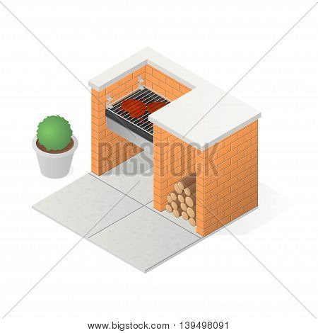 Brick BBQ grill. Grilling meat steak. Isometric vector illustration