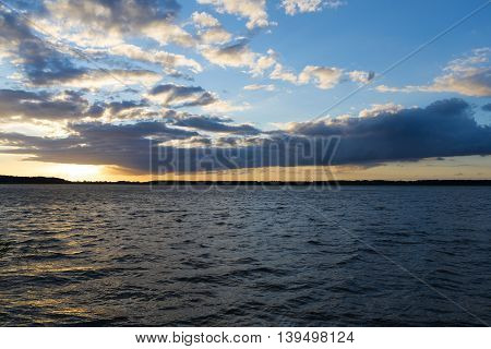 Landscape after sunset of lake in Mazury district - Rybitwy village