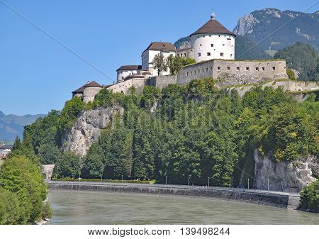 View to Fortress and Town of Kufstein at River Inn in Tirol,Alps,Austria