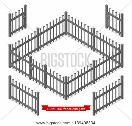 Isometric metal fence and gate constructor. Metallic lattice isolated on white. Vector illustration
