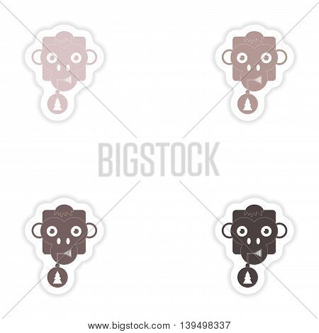 Set of paper stickers on white background  Monkey Christmas ball