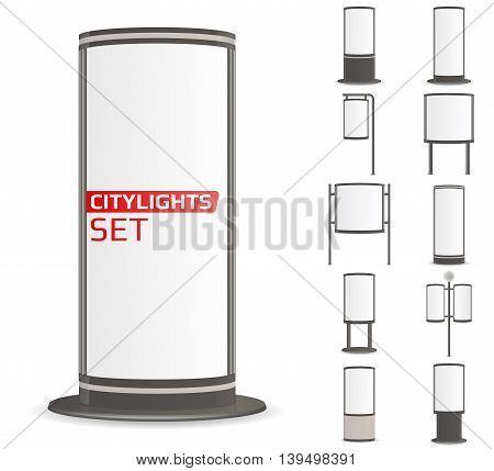 Advertise citylights set. 11 lightboxes mock up for your ad. Vector illustration