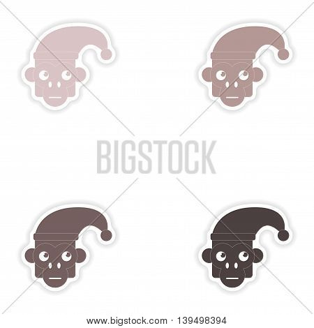 Set of paper stickers on white background  monkey cap