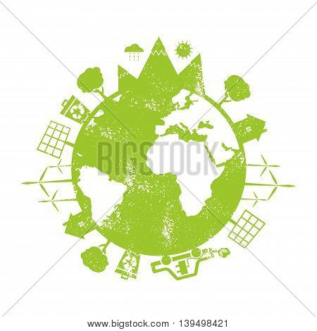 Illustrations Of Concept Earth With Icons Of Ecology, Environment, Green Energy. Vector