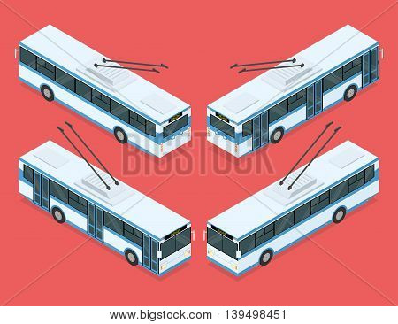 City trolleybus. Public transport. Four views. Isometric vector illustration
