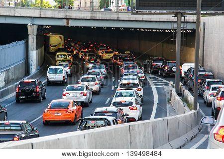Traffic Jam In Santiago