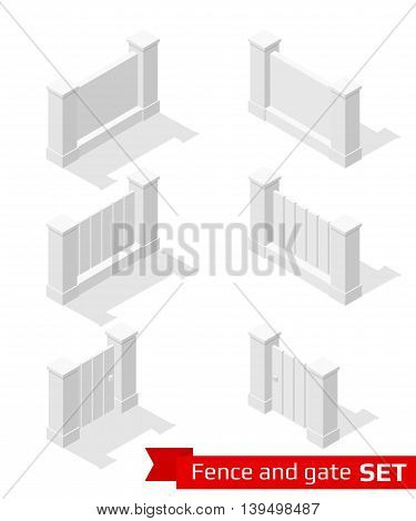Isometric fence and gate constructor. Concrete parts isolated on white. Vector illustration