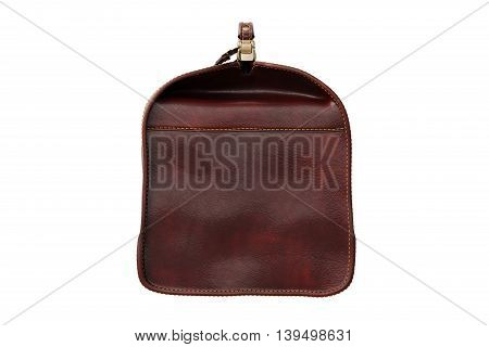 Travel leather bag classic, side view. 3D graphic
