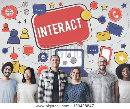 Interact Communicate Connect Social Media Social Networking Concept
