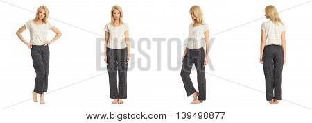 Portrait Of Young Slim Woman In Pants Posing Isolated On White