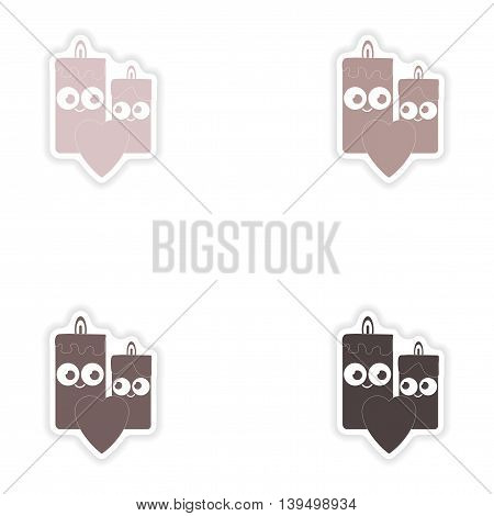 Set of paper stickers on white background  candle heart